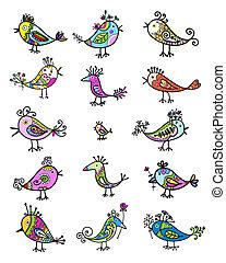 satz, von, lustiges, bunte, vögel, für, dein, design