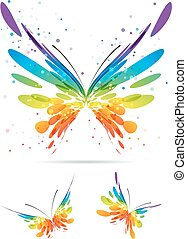satz, von, mehrfarbig, vlinders