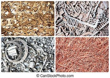 satz, von, metall, schrott, materialien, mülltrennung, hintergrund