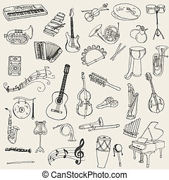 satz, von, musikinstrumente, -, hand, gezeichnet, in, vektor