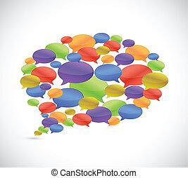 satz, von, nachricht, bubbles., abbildung, design