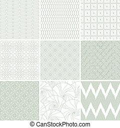 satz, von, neun, abstrakt, geometrisch, seamless, patterns.