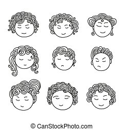 satz, von, neun, verschieden, reizend, hand, gezeichnet, faces.