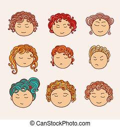 satz, von, neun, verschieden, reizend, hand, gezeichnet, gesichter, mit, a, mehrfarbig, lockig, hair.