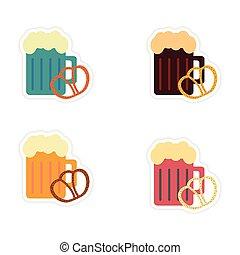 satz, von, papier, aufkleber, weiß, hintergrund, glas, bier, imbiß