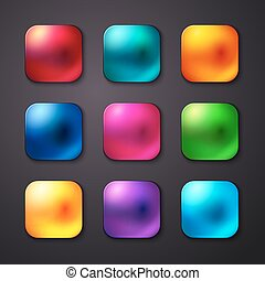 satz, von, realistisch, und, bunte, beweglich, app, buttons., vektor, illustr