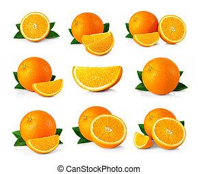 satz, von, reif, orange, früchte, mit, blätter, und,...
