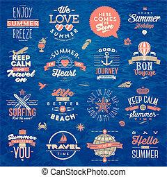 satz, von, reise, und, sommer urlaub, art, design, -, vektor, abbildung