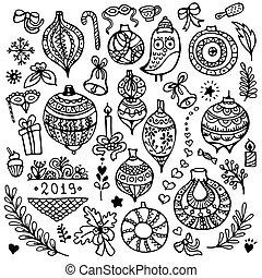 satz, von, reizend, hand-drawn, weihnachten, elemente