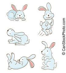 satz, von, reizend, kaninchen, auf, white., vektor