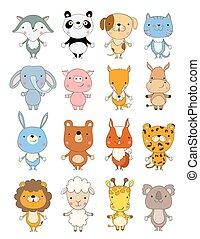 satz, von, reizend, karikatur, animals., vektor