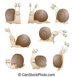 satz, von, reizend, karikatur, snails., vektor, abbildung