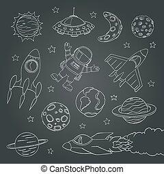 satz, von, reizend, weltraum, elemente, astronaut, planeten, rockets., tafelkreide, linien