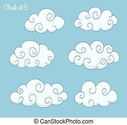 satz, von, reizend, wolkenhimmel, mit, swirls., vektor