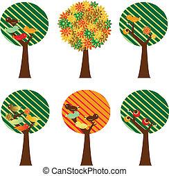 satz, von, retro, bäume