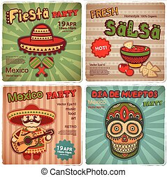 satz, von, retro, banner, mit, mexikanisch, symbole