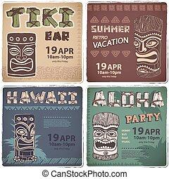 satz, von, retro, hawaiianer, banner