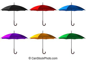satz, von, rgeöffnete, klassisch, farbe, schirm, stock