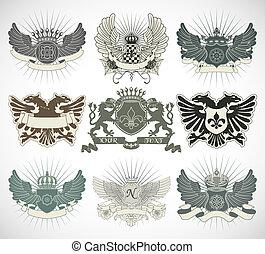 satz, von, ritterwappen, symbole