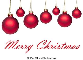 satz, von, rotes , hängender , weihnachten, kugeln, freigestellt, weiß
