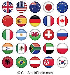 satz, von, runder , flaggen, welt, oberseite, staaten