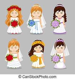 satz, von, schöne , bräute, mit, wedding, bouquet.