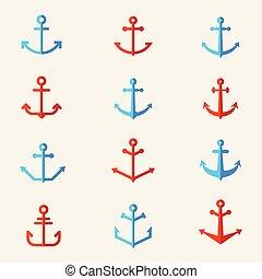 satz, von, schiffsanker, symbols., vektor