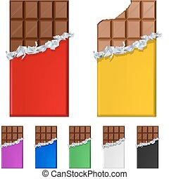 satz, von, schokoladenbalken, in, bunte, verpackungen