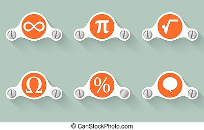 satz, von, sechs, vektor, gegenstände, und, symbole