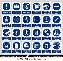 satz, von, sicherheit, und, gesundheit, schutz, signs.