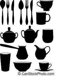 satz, von, silhouetten, dishes.