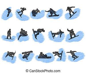 satz, von, snowboard, athlet, grunge, silhouetten