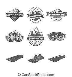 satz, von, snowboarding, abzeichen