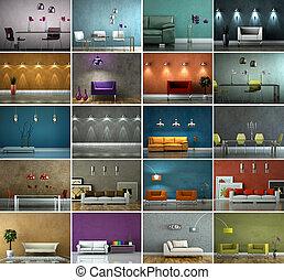 satz, von, sofas, in, modern, innenarchitektur