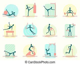 satz, von, sport, ausrüstung, heiligenbilder, mit, person, machen, verschieden, turnhalle, activity., athletische, bobybuilding, training, und, workout, übungen, für, leute.