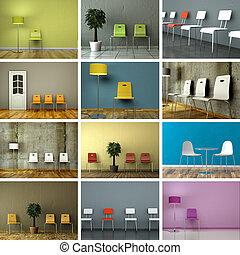 satz, von, stühle, in, modern, innenarchitektur