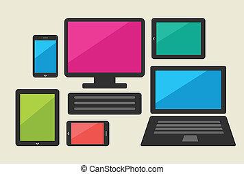 satz, von, tablette, computer, und, klug, telefon