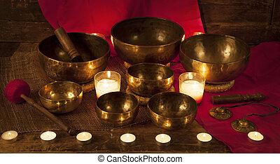 satz, von, tibetanisch, singende, schüsseln, und, glocken