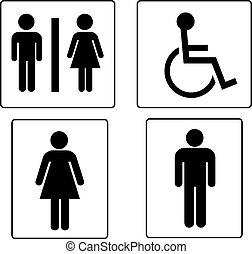 satz, von, toilette, symbole