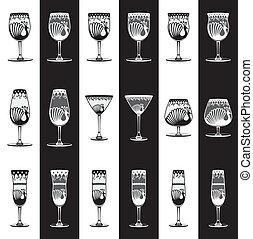 satz, von, trinkende gläser