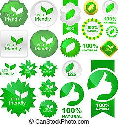 satz, von, umweltschutzfreundliche, signs.