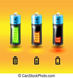 satz, von, vektor, batteries., ladung, conditions.
