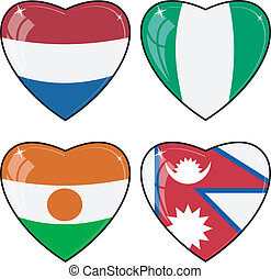 satz, von, vektor, bilder, von, herzen, mit, der, flaggen, von, nepal, niger, nigeria, niederlande