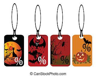 satz, von, vektor, halloween, etikette