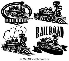 satz, von, vektor, logo, in, weinlese, stil, mit, locomotives., embleme, etiketten, abzeichen, oder, muster, auf, a, retro, eisenbahn, thema