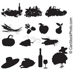 satz, von, vektor, silhouette, bilder, von, herbst, feste, und, ernte