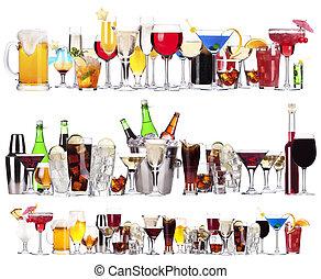 satz, von, verschieden, alkoholische getränke, und, cocktails