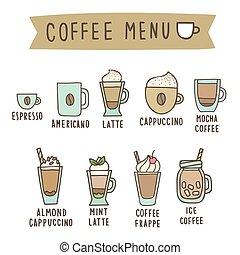 satz, von, verschieden, bohnenkaffee, stil, drinks.