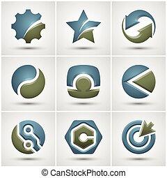 satz, von, verschieden, icons.