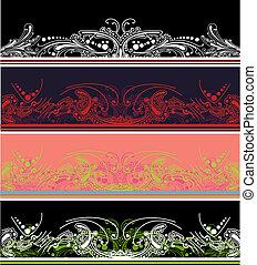 satz, von, vier, farbe, umrandungen, entwerfen elemente